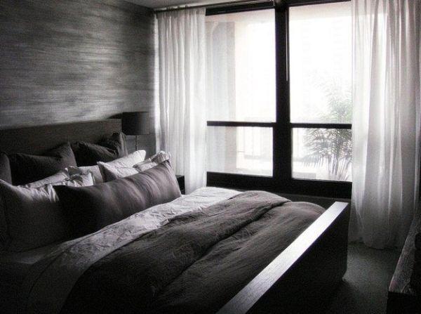 Wunderbar Weißen Vorhänge · Schlichte Schlafzimmer · Minimalist Bedroom In Dark  Colors And Contrasting White Drapes By TROST