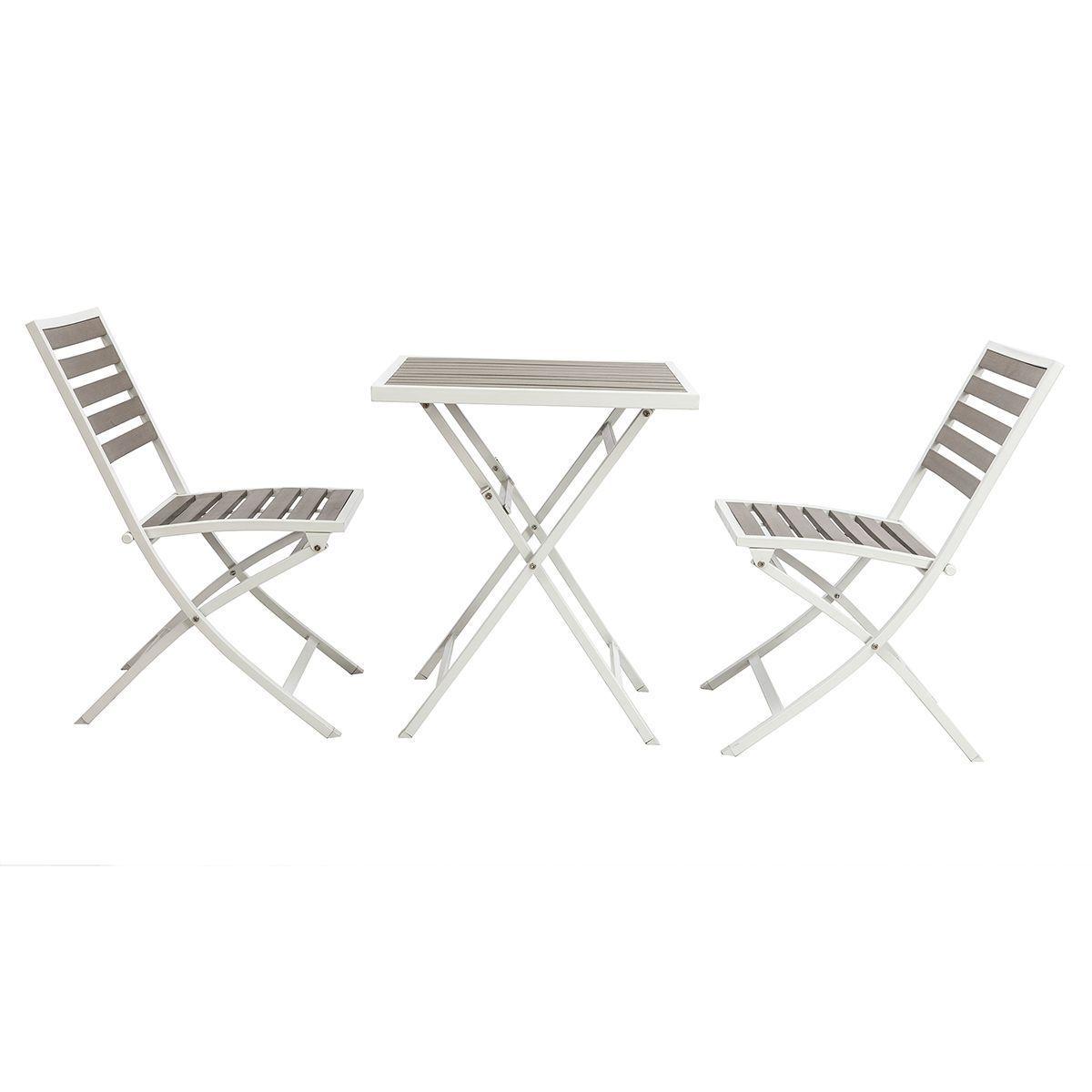 Salon De Jardin Pliable Avec Table 2 Chaises Bois Mojito ...
