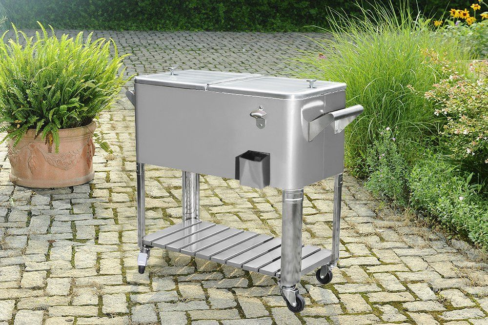 Stainless Steel Patio Cooler with Shelf & Sunjoy 80Qt Stainless Steel Patio Cooler with Shelf | Stainless ...