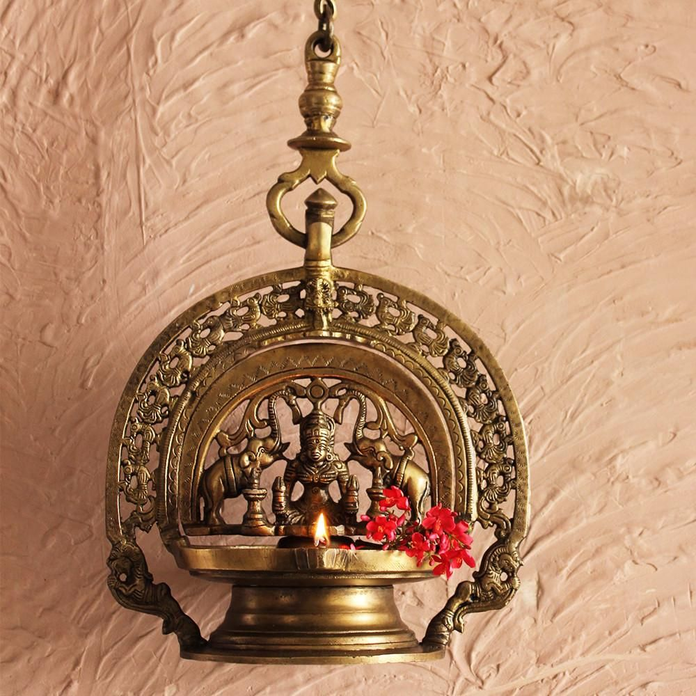 Traditional Gajalaxmi Vilakku Oil Lamp From Kerala 93 Cm Length Theindianweave Oil Lamps Traditional Lamps Brass Lamp