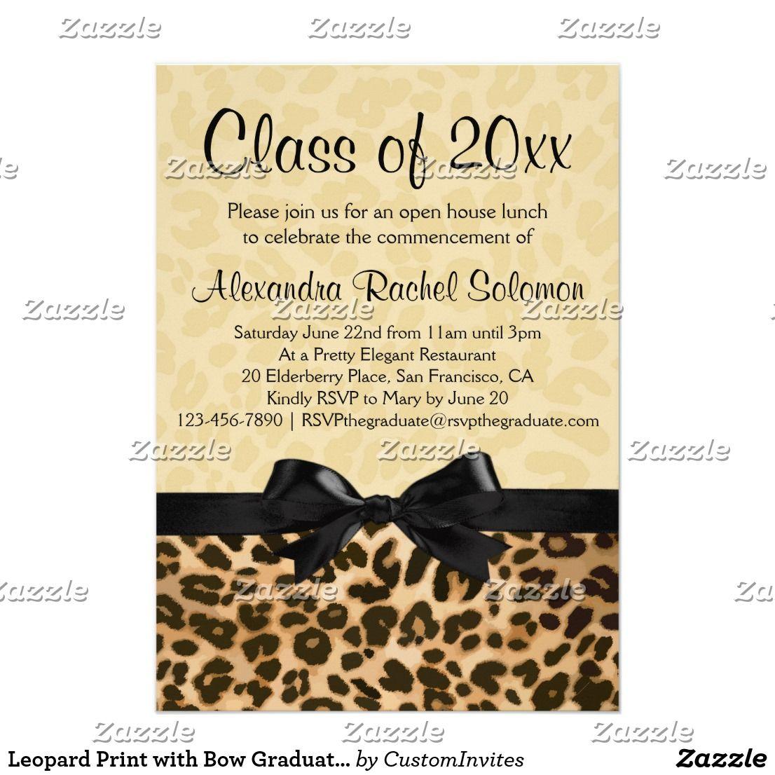 Leopard Print with Bow Graduation/Party Invitation | { Congrats ...
