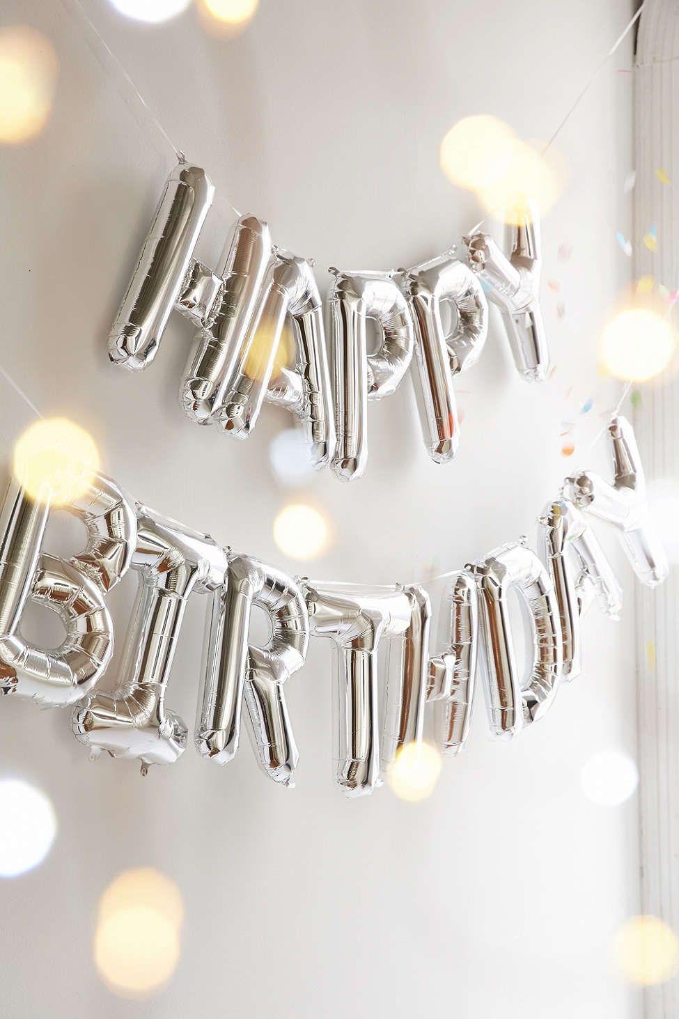 happy birthday metallic silver or gold balloon kit | entertaining