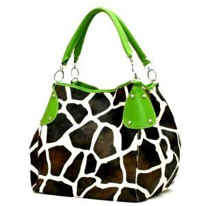Green Giraffe Designer Inspired Animal Print Handbag