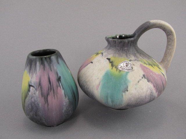 Vintage Vasen Set U Keramik Uebelacker 464 8 Und 485 10 Etsy West German Pottery Pottery Vase Pottery