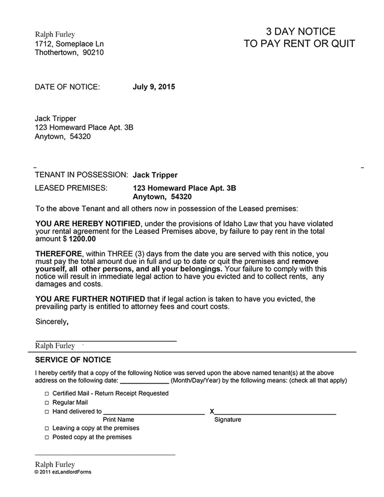 Idaho 3 Day Notice To Pay Rent Or Quit Ez Landlord Forms Being A Landlord Eviction Notice Sample Resume