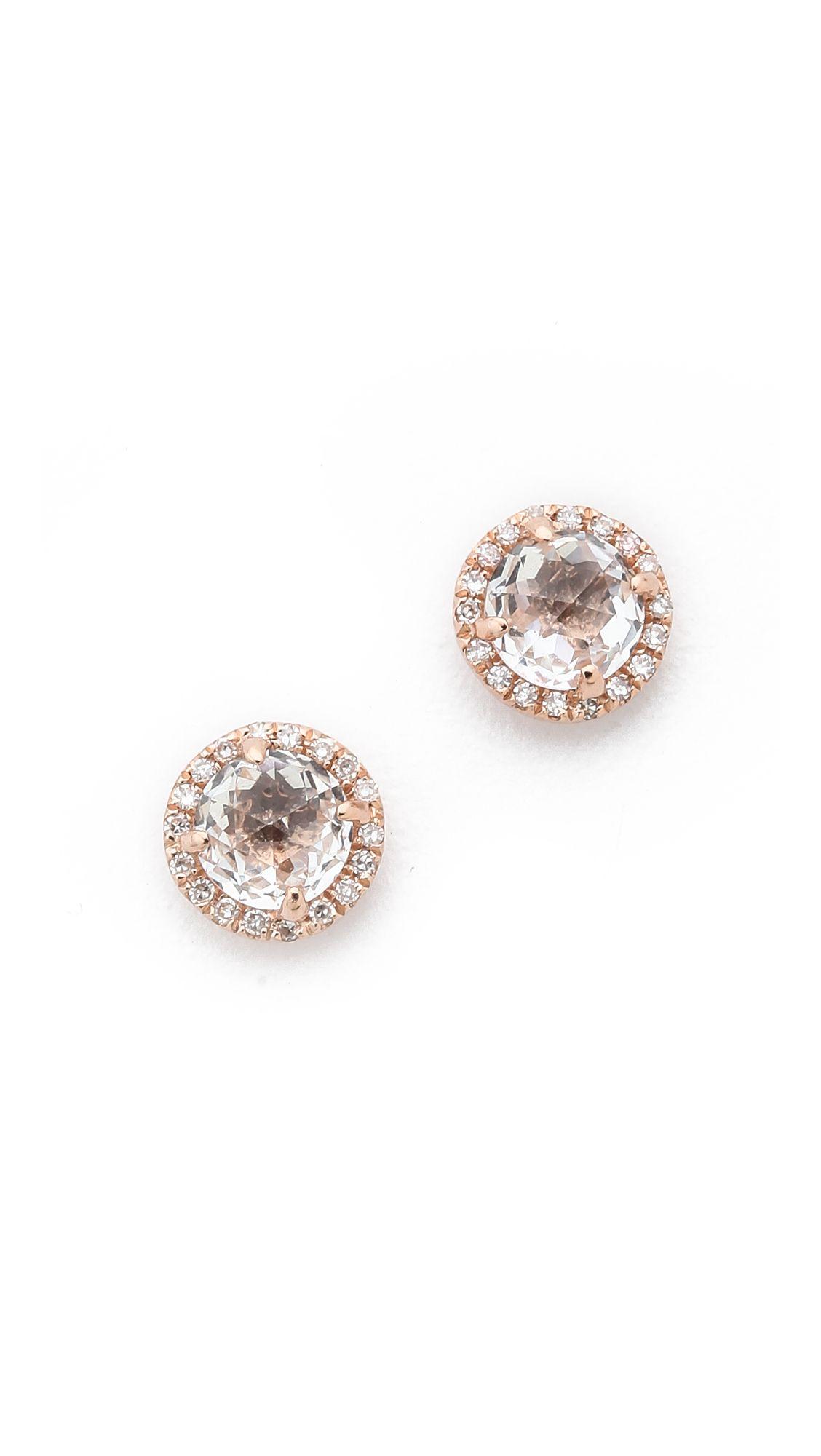 EF Collection White Topaz & Diamond Halo Stud Earrings dl7k25ToD