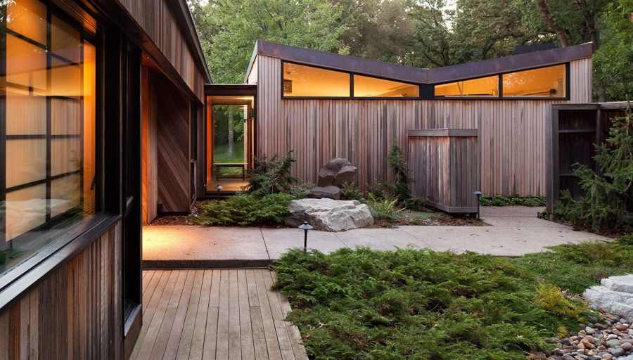 Asian Inspired Mid Century Modern Backyard Design Japanese
