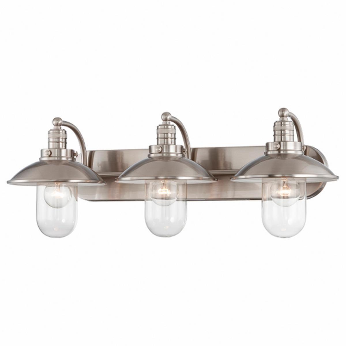 Schooner 3 Light Bath Nautical Or Look Love It With Edison Filament Bulbs Brushed Nickel Vanity