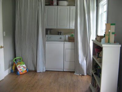 Hang A Curtain To Hide Your Washer Amp Dryer Diy