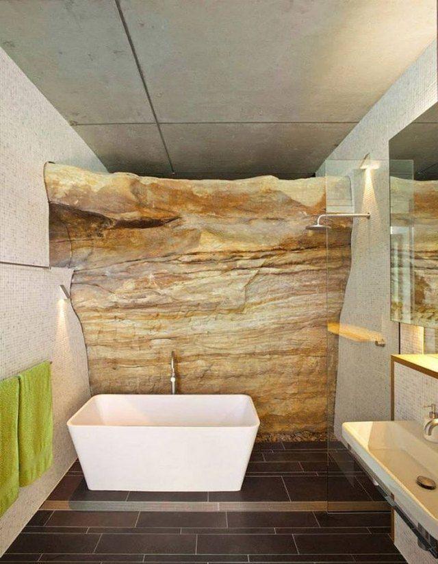 Badezimmer einrichten-Ideen für rustikale Dekore aus Stein-Badewanne