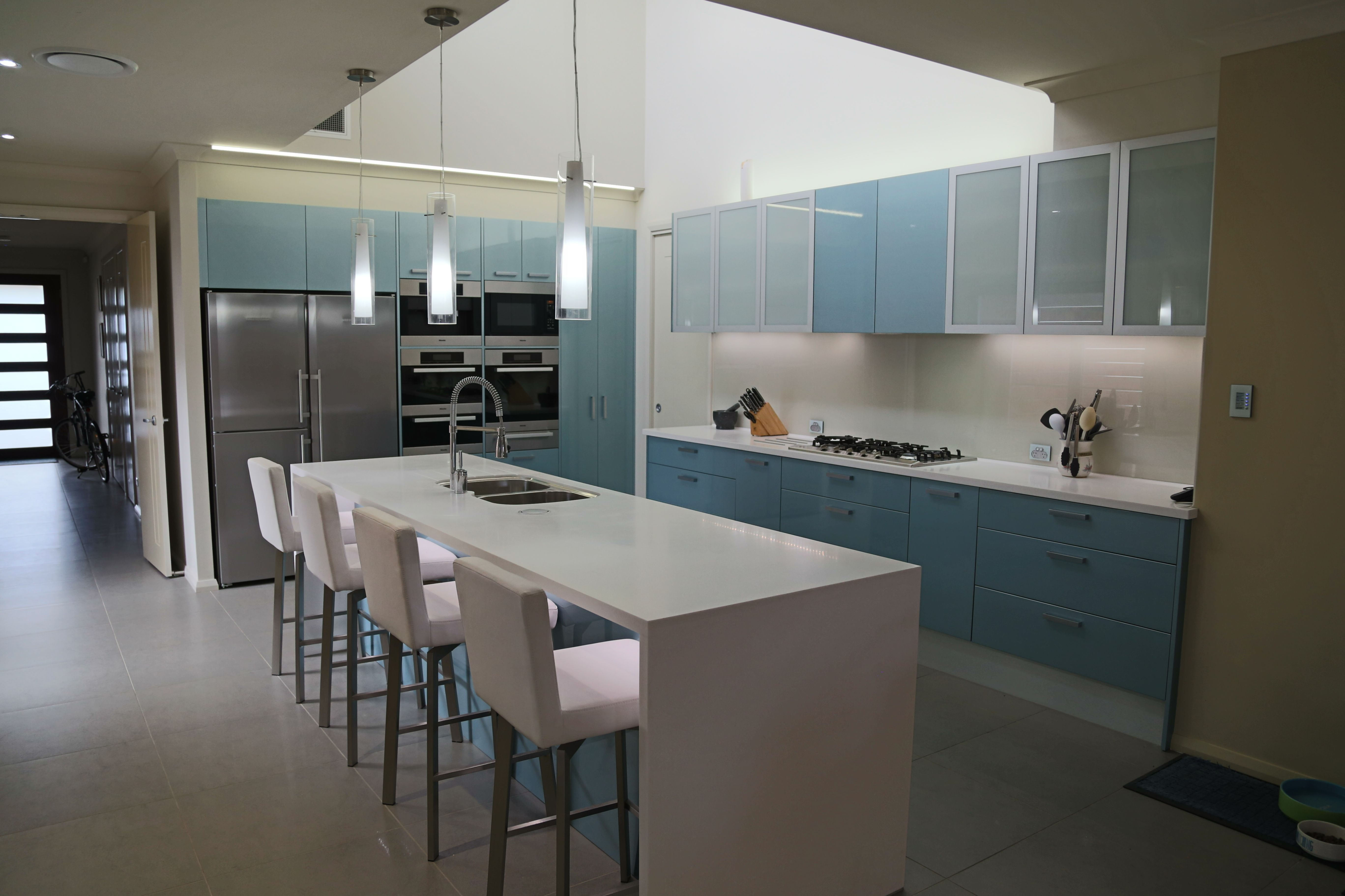 Corian Waterfal Benchtop In Antartica Colour Polyurethane Gloss Doors Brand Evic Metallic In Bells Colour Kitchen Renovation Joinery Design New Kitchen
