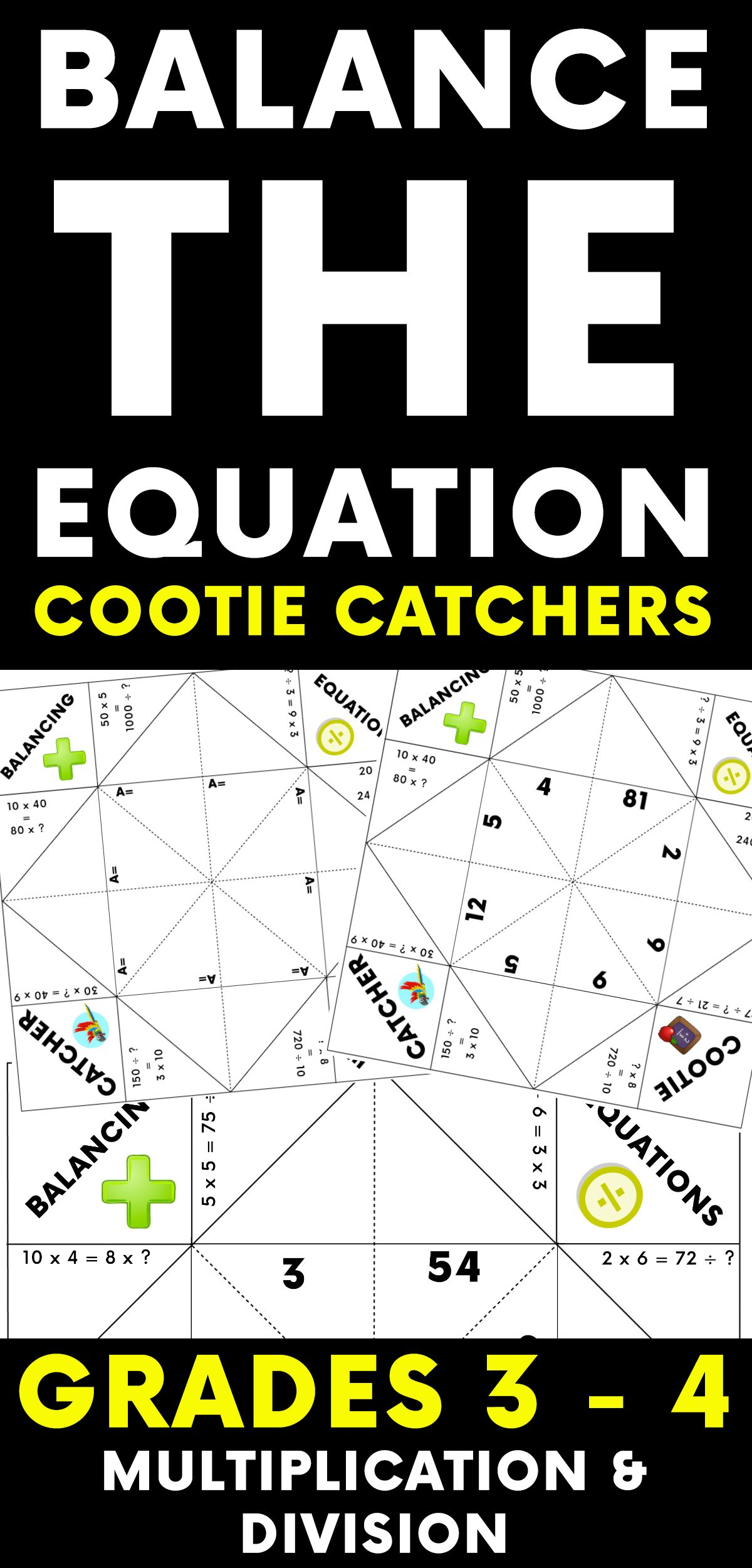 Balance The Equation Cootie Catcher Multiplication