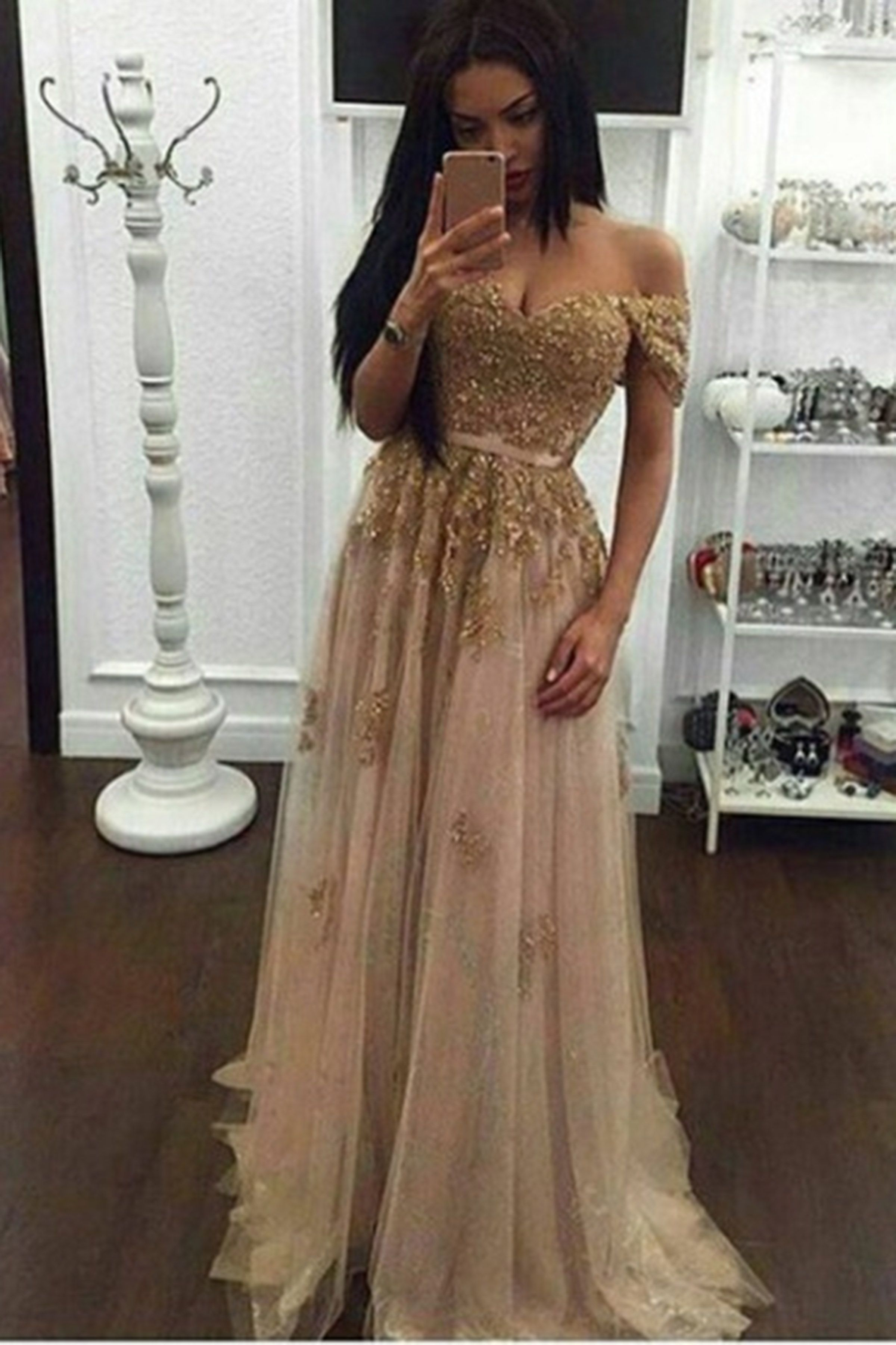 Sequins prom dress ball gown cute off shoulder light gold sequins