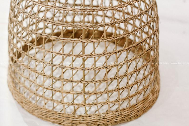 Round Seagrass Rattan lampshade light | Etsy trong 2020