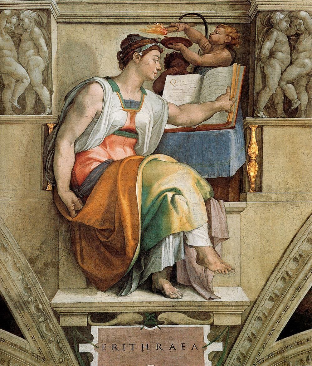 Romebyzantium The Eritrean Sibyl 1511 Michelangelo Sistine Chapel Source Vatican City Guide With Map Pinturas Renacentistas Arte Occidental Artistas