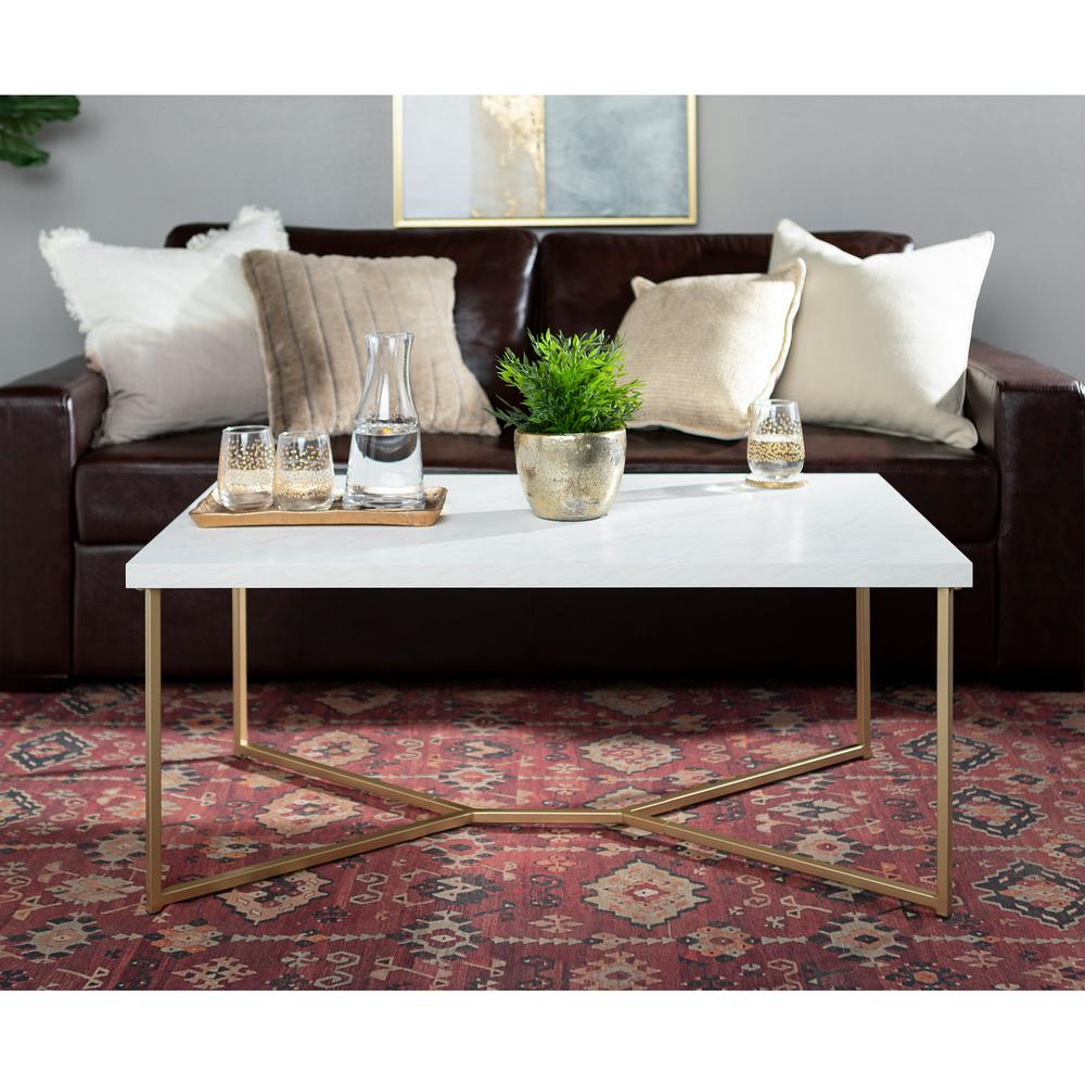 Walker Edison Furniture Company 42 In White Gold Large Rectangle Faux Marble Coffee Table Hdf42luxwmg The Home Depot Coffee Table Faux Marble Coffee Table Gold Coffee Table [ 1000 x 1000 Pixel ]