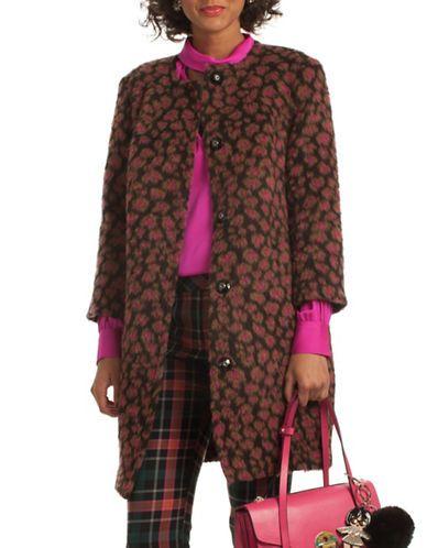 Trina Turk Leopard Print Alpaca and Wool Blend Coat Women's Brown Mult