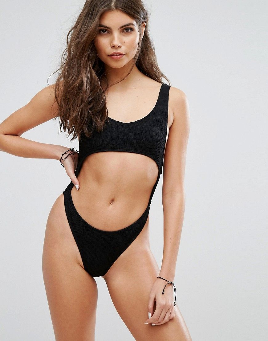 4cf2bfbb1b2 Motel Black Textured Cut Out Swimsuit - Black | Bikini Babe in 2019 ...