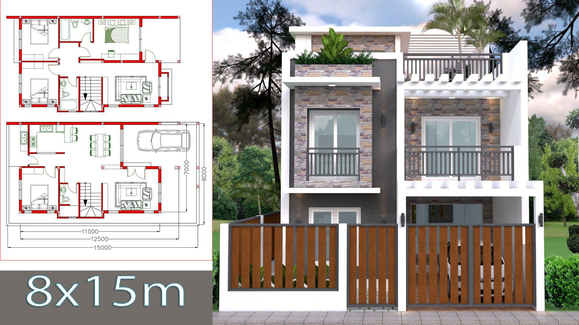 Home Design Plan 7x11m Plot 8x15 With 4 Bedrooms Planos De Casas