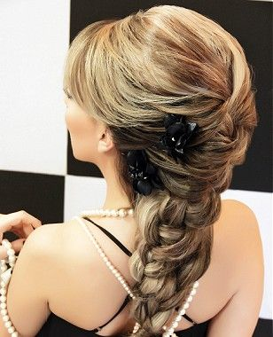 A long blonde straight coloured plaited ponytails wedding ...