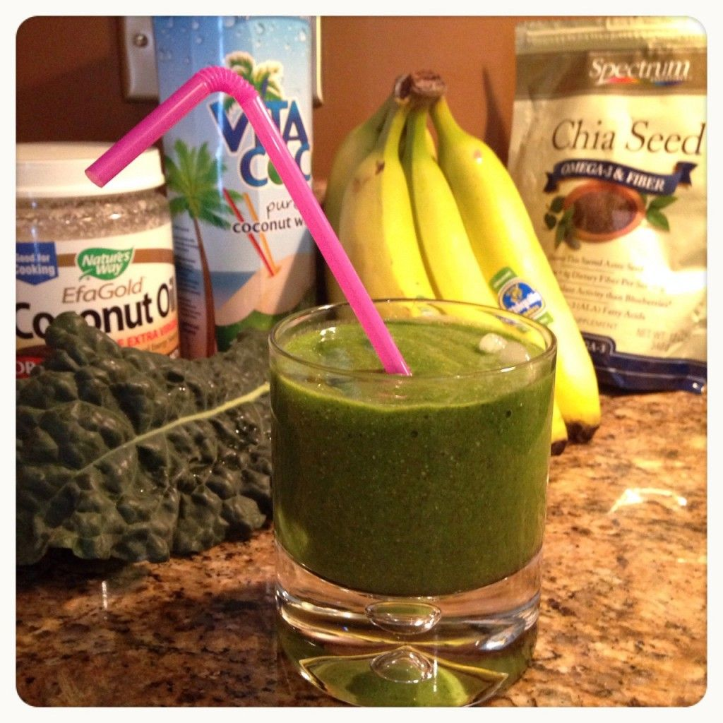 Kale Banana Smoothie enjoy it with a straw to help keep