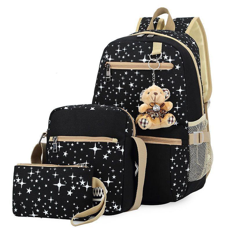 Back To School Shoulder Bags Girls Kids Teddy Bear Canvas Backpack Cute  Bookbag 2f19e9da2a62f