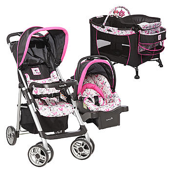 Disneys Minnie Mouse Care Center Play Yard Sport Stroller Car Seat Bundle