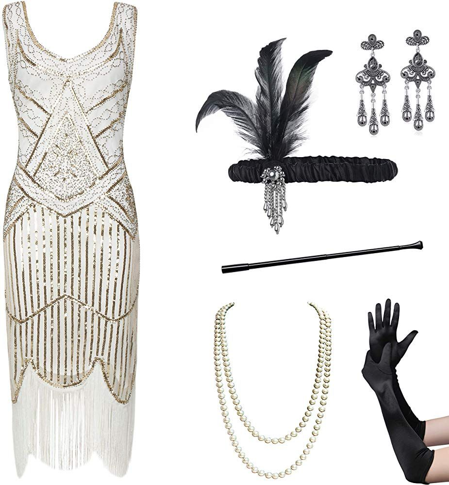Coucoland Womens 1920s Flapper Sequin Beads Dress With Roaring 20s Gatsby Accessories Set For Party White Gol Beaded Dress Sequin Beading Gatsby Accessories