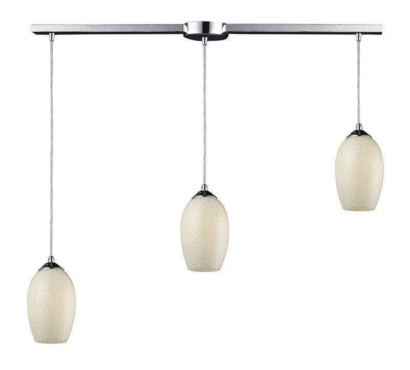 ELK Lighting Night Glow Night Glow 3-Light Linear Pendant In White Swirl And Polished Chrome Finish Glows In The Dark - 11314/3L-WS-G