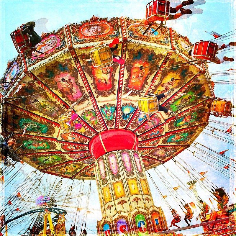 Vintage Retro Carnival Swing Ride Photo Poster Carnival Art Carnival Swings Retro Photo