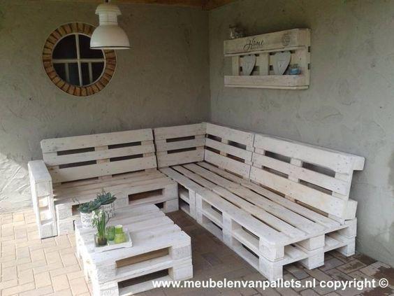 Lounge Bank Paletten 240x200cm weiß: Gartenmöbel von Paletten - Marchelle van der Made #palettendeko
