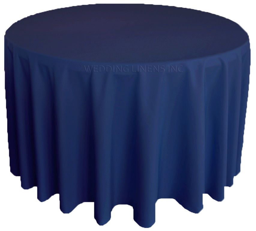 120 Round Polyester Tablecloth Navy Blue 51623 1pc Pk Table