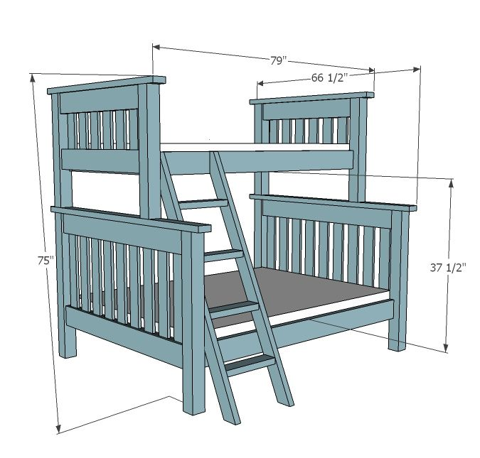 Ana White Build a Twin over Full Simple Bunk Bed Plans Free and - Plan Maison Bois Gratuit