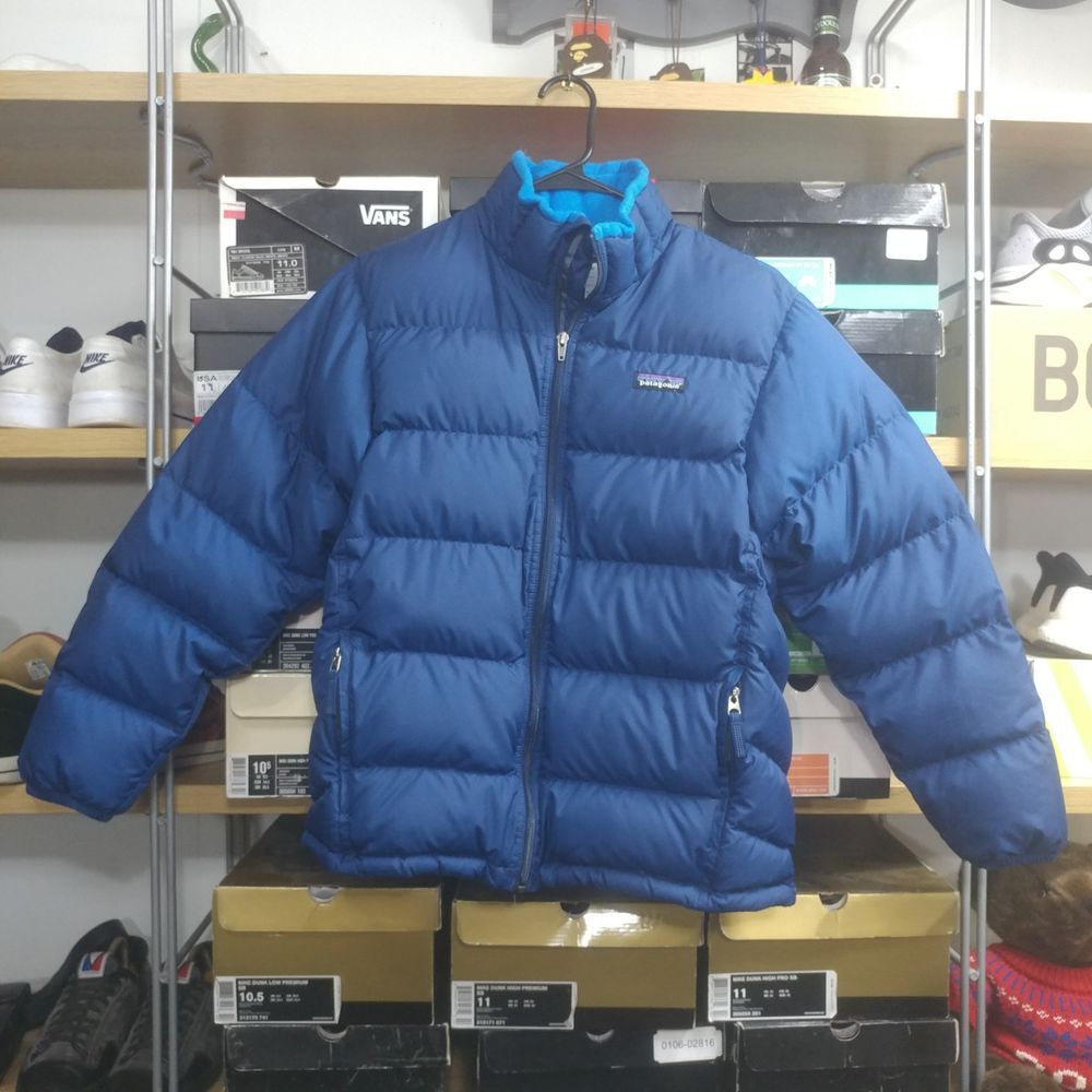 Patagonia Kids Feather Down Puffer Jacket Size L (12) Blue