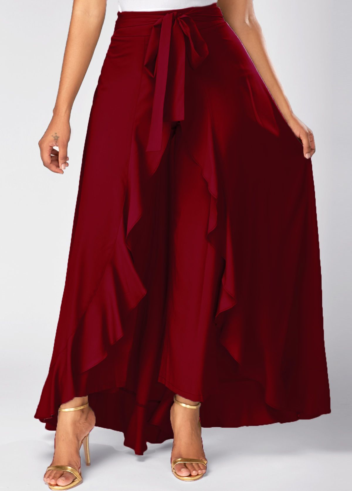 Zipper Side Tie Waist Wine Red Overlay Pants On Sale Only