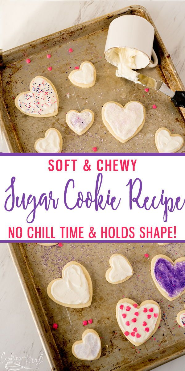 This NO CHILL Sugar Cookie Recipe holds it's shape, and only uses 6 ingredients! This soft and chewy sugar cookie recipe will be your new favorite!! |Cooking with Karli| #sugarcookies #recipe #nochill #holdsshape #soft #chewy #sugarcookies