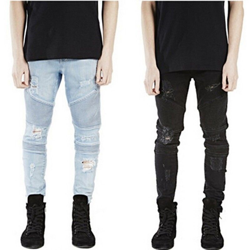 Men's Slim Denim Straight Biker Skinny Jeans Men Ripped Jeans ...