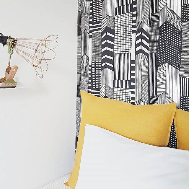 Wallpaper by Marimekko for the single room B/W #thisishomebb #bwroom
