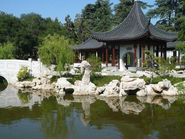 Ideal Chinese Garden landscape pagoda massive rocks water element pond