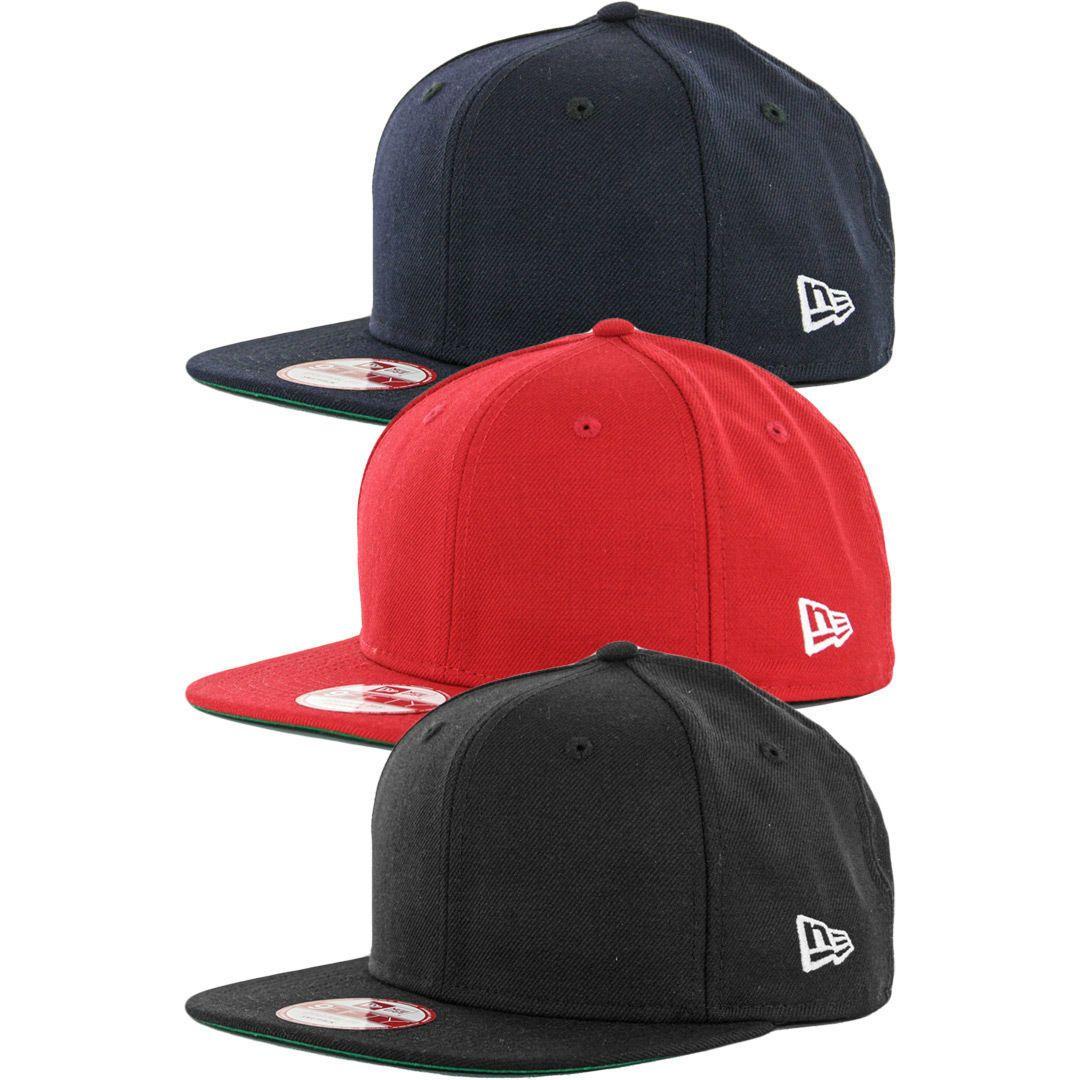 395a9c04 Era 9Fifty Plain Blank Snapback Hat Original Uniform Cap Black Blue Navy Red