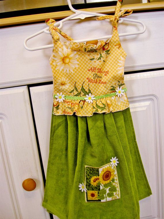Sunflower Kitchen Hand Towel Hanging Towel Dress By WoopsaDaisies, $15.00