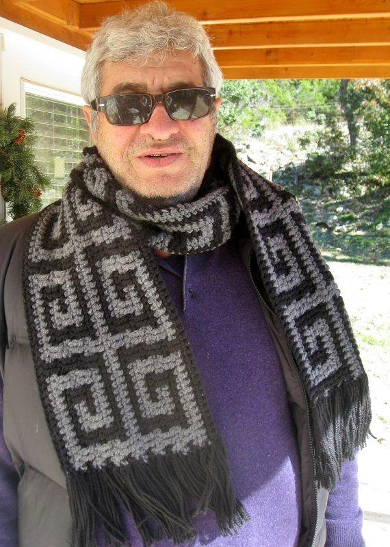 Mens Greek key scarf crochet pattern // Greek key crochet mosaic ...