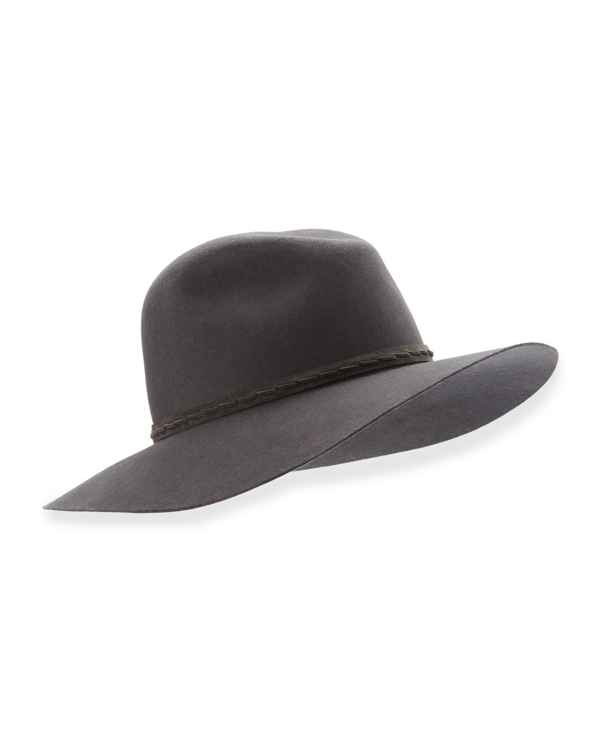 c45eaeb64974 Rag & Bone fedora hat in wool felt features a wide, floppy brim. Round  crown with pinched center. Whipstitched leather hat band at break.