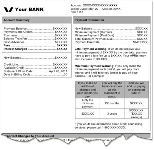 credit card statement template