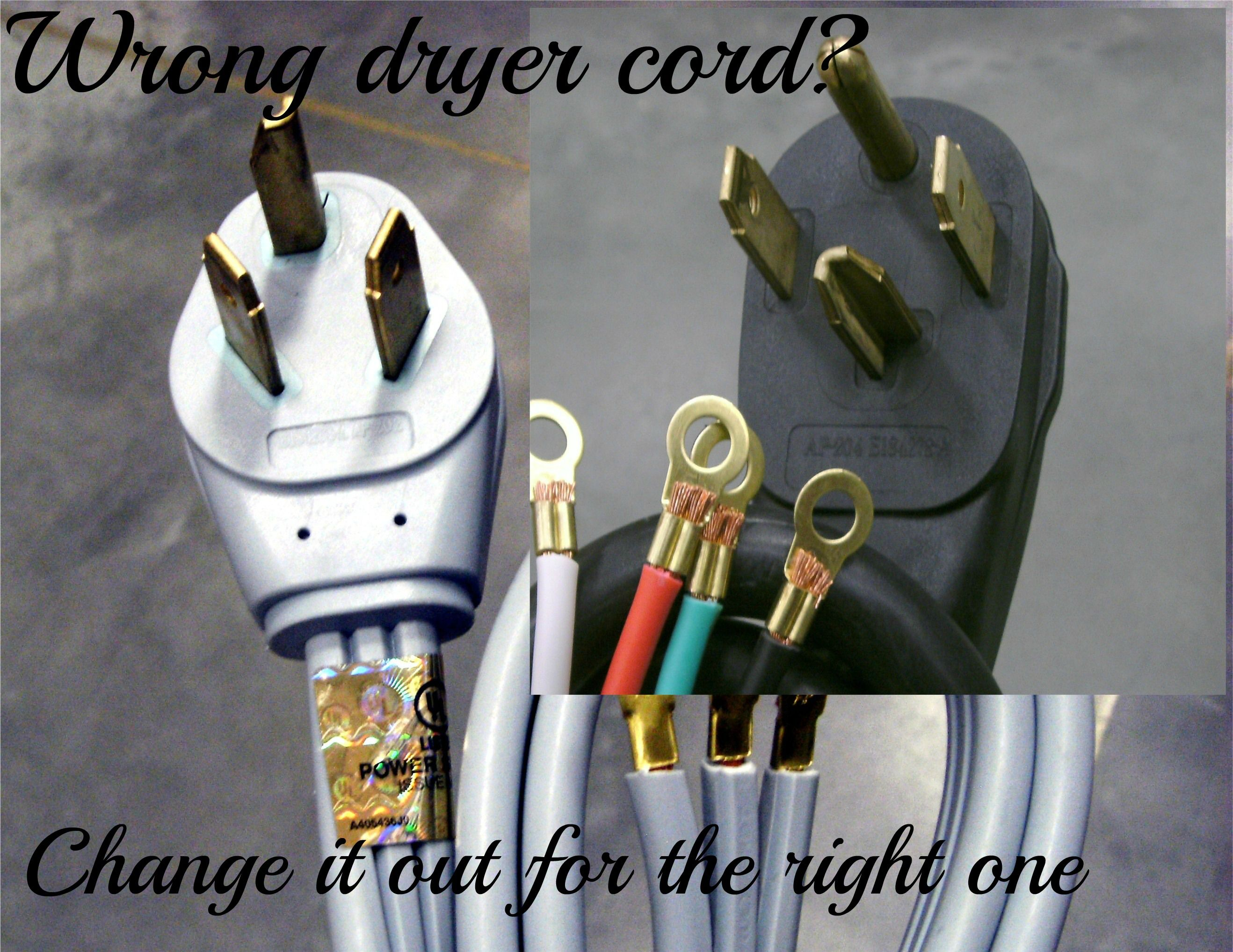changing a 3 prong to 4 prong dryer cord and plug [ 2636 x 2036 Pixel ]