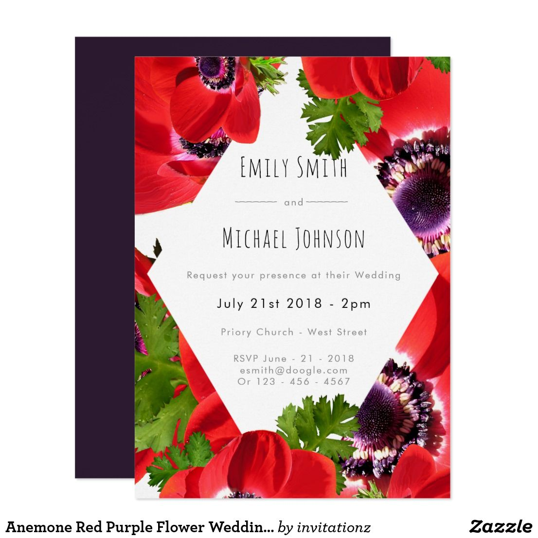 Anemone Red Purple Flower Wedding Invitations with a pop of ultra ...