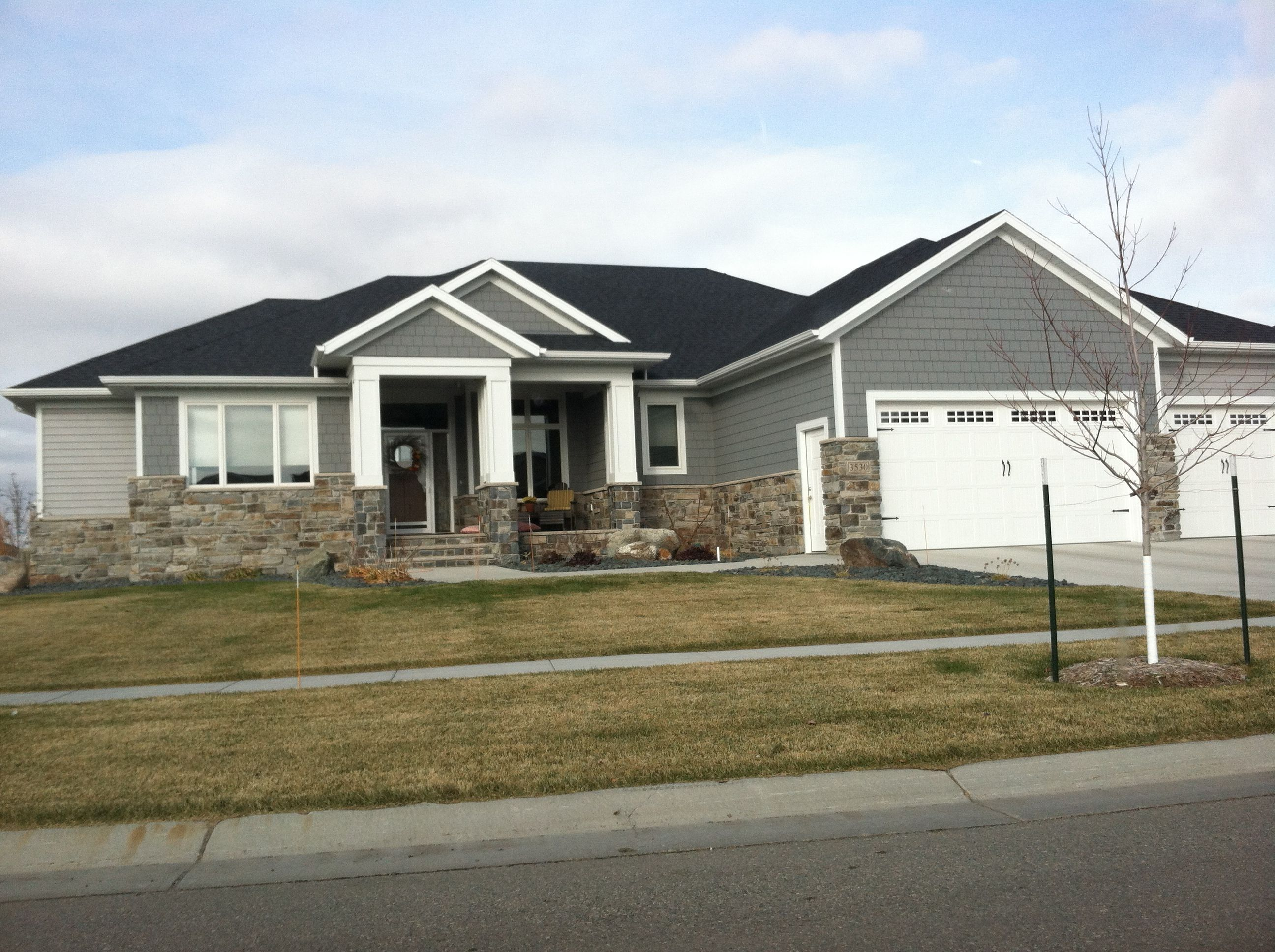 Colors Two Tone Grey Exterior With White And Tan Brick House Paint Exterior Farmhouse Exterior Grey Exterior