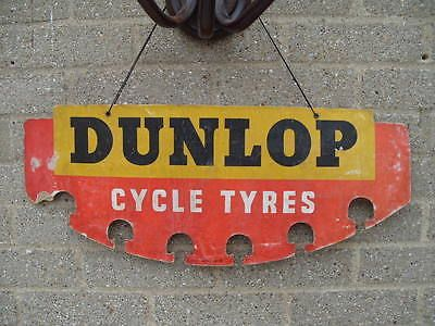 Vtg Old 1950s Dunlop Bicycle Bike Tyre Shop Display Sign Not