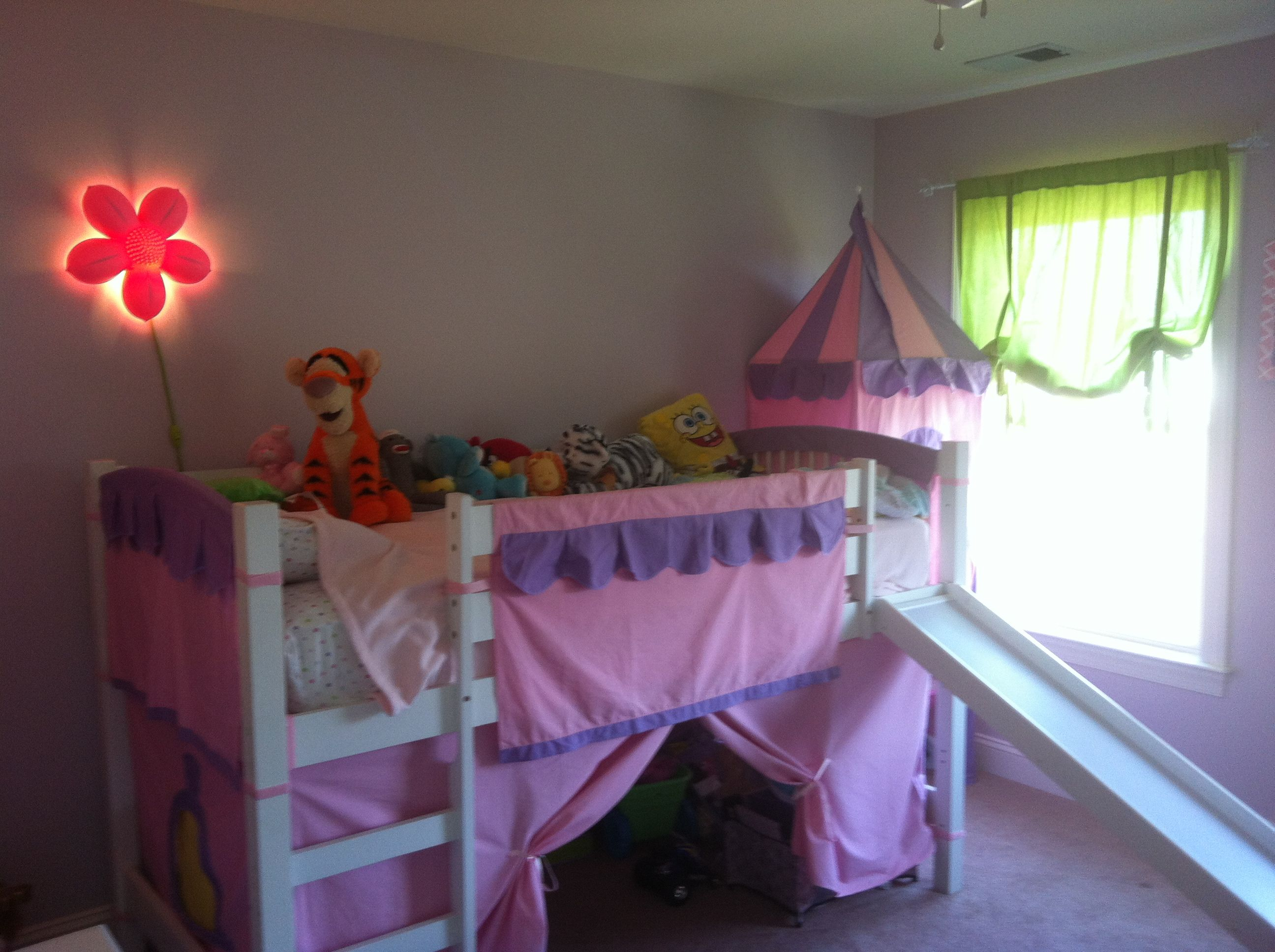Girls loft bed with slide  Childus bedroom with castle bed and slide  Hailey  Pinterest