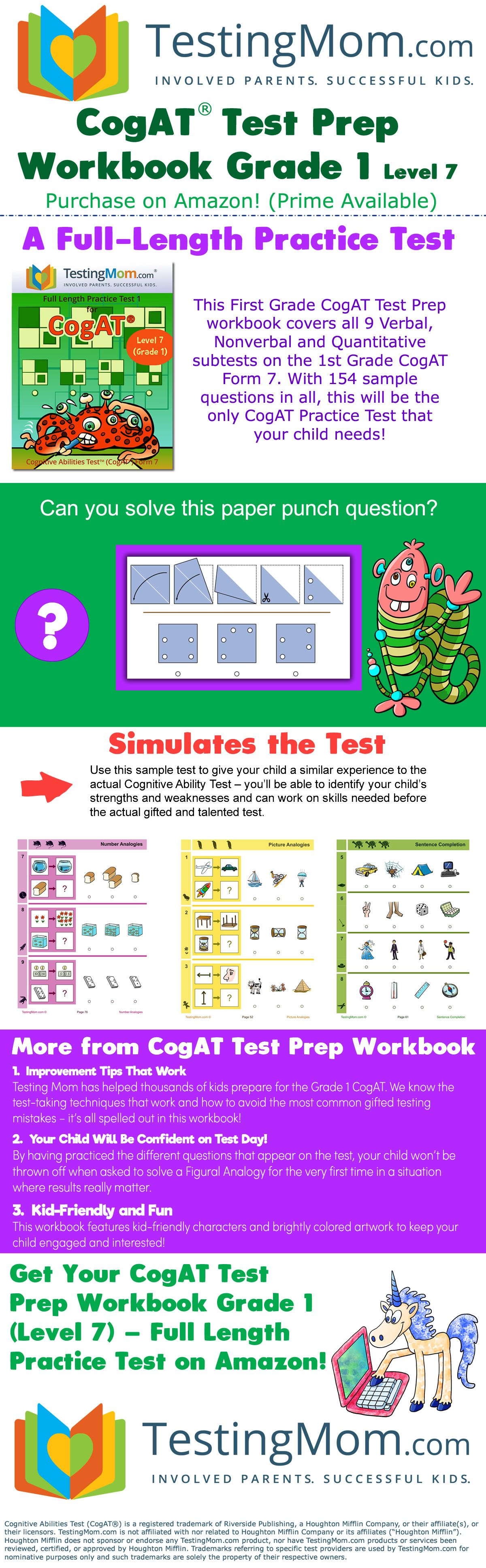 A Full Length Practice Test This First Grade Cogat Test Prep